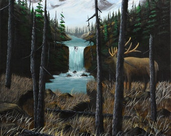 Elk by the Falls - original painting