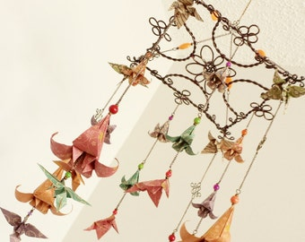 Beautiful origami flower mobile with hummingbirds rustic elegant origami mobile with hummingbirds and lilies autumn colors flower mobile baby mobile nursery decoration decorative mobile mightylinksfo