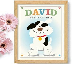 Cute Puppy Art First Birthday Gift Boys Room Decor Childrens Art Personalized Baby Art for Girls Birthday Boys Birthday Art for Babies Room