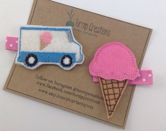Ice Cream Hair Clip Ice Cream Truck Felt Hair Clip Feltie Hairclip