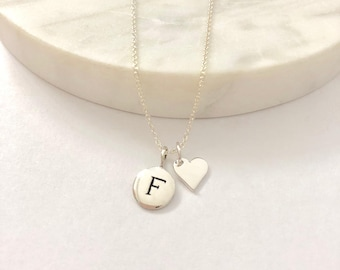 Silver Initial & Heart Charm Necklace - Heart Necklace - Initial Necklace - Initial Jewelry - Personalized Jewelry