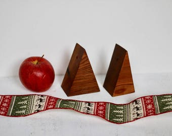 Cedar Christmas Tree Ornaments, Natural Finish, Rustic Modern Christmas, Simple Handmade Wood Ornaments, Eco-Friendly, Minimalist, Set of 8
