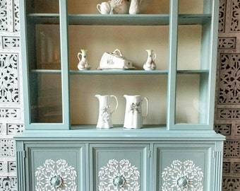 SOLD Vintage China Cabinet, Hutch, Hand Painted, Blue And White Cabinet,  Restored, Vintage, Curio Cabinet, Unique, Antique,
