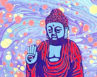 """Fearless Buddha Ebru 8.5""""x11"""" giclee print"""