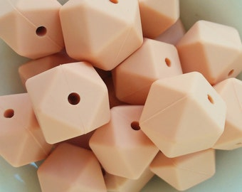 50-100 Silicone Ball Hexagonal 17mm color peach-BULK Silicone beads-50-100 hexagonal silicon beads 17mm-50-100 Silikon Perlen