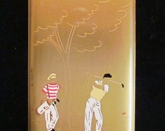 Vintage 1940s Cigarette Case Cigarette Box Elgin American Cigarette Case Business Card Case Golf Motif Very Good Condition