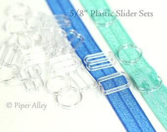"""Headband Slider Sets, 5/8"""" Clear Plastic Sliders, Bra Slides, DIY Adjustable FOE Hardware, Elastic Headband Supplies, O Ring  Figure 8"""