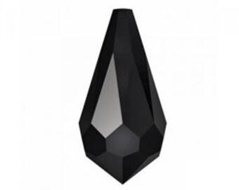 Swarovski Crystal 6000 classic drop pendants 11x5.5mm 2 pieces jet black