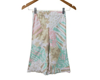 Vintage 80s Fabric Handmade New Pastel Abstract Star Print Size 2T Girl's Comfy Elastic Waist Flare Pants