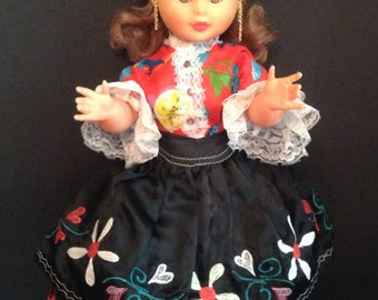 "vintage large 22"" doll strawberry blonde plaid & strawberry dress w/black satin apron 6 slips earrings"