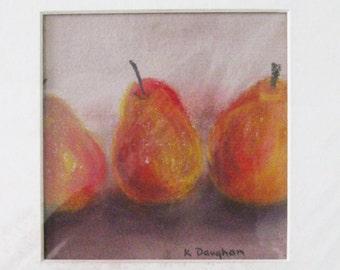 Still Life Original Pastel Painting 3 Pears Soft Pastel on Handmade French Paper Orange Original Matted Art 8.5 x 11 Kathleen Daughan Artist