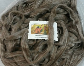 Suri Alpaca Silk Roving. Natural Color Alpaca, Silky Soft Roving, Luxury Spinning Fiber, Rose Grey Suri , Ember