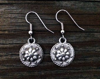 Renaissance Daisy Pewter Earrings