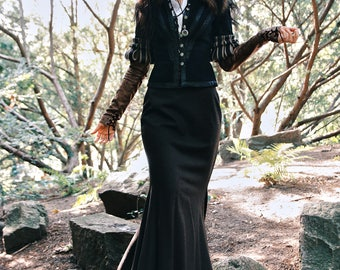 "Costume "" Yennefer"" inspired by outfit of Yennefer from Vengerberg , the Witcher game, Perfect for LARP Cosplay and historical stylizations."