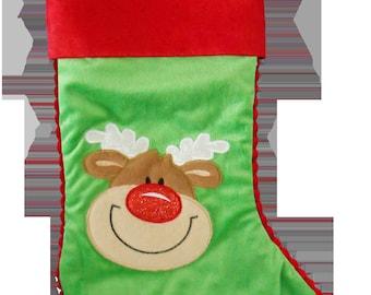 Green Reindeer Personalised Christmas Stocking Cubby