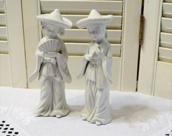 Vintage White Ceramic Asian Women Figurine Set of 2 Lady with Fan UCGC Korea PanchosPorch