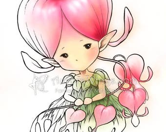 Digital Stamp - Bleeding Heart Sprite - Whimsical Dicentra Fae - digistamp - Fantasy Line Art for Cards & Crafts by Mitzi Sato-Wiuff