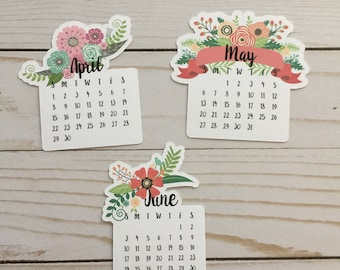 Floral Calendar  Die Cut - Choice of April, May, or June