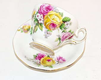 Queen Anne Tea Cup and Saucer Manor Roses - 1756