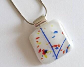 Unique Glass jewel-white with blue pendant necklace