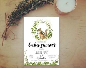 Woodland Animal Baby Shower Invitation - Squirrel