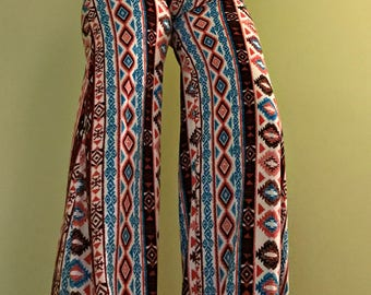 Tribal High Waisted Super Soft Palazzo Pants, Hippie Pants, Boho Clothing, Festival Clothing - Size Small