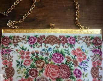 Emboidered Victorian Floral Spring Clutch
