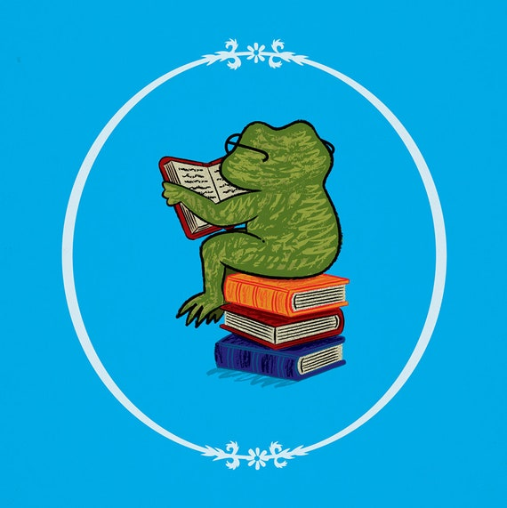 Frog Fiction - animal art poster print by Oliver Lake - iOTA iLLUSTRATiON