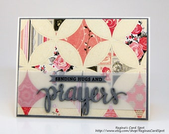 Pink and Gray Thinking of You Greeting Card