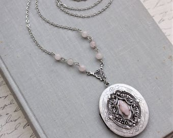 Rose Quartz Locket Necklace
