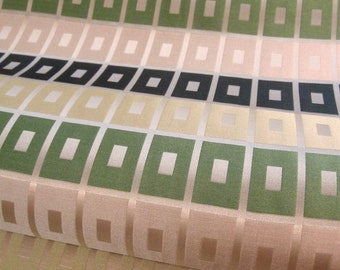 Vintage Mod Satin Upholstery Fabric w/ Mesh Stabilizer Backing Remnant - Green / Cream Damask Grid.