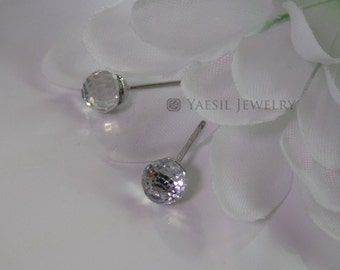 Disco Ball Stud Earrings, Clear Crystal Ball Stud Earrings, Sterling Silver Post, Quality Swarovski Crystals, Mirror Ball Stud Earrings