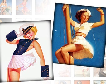 Pinup girls digital collage sheet  0.75 x 0.83 inches  Vol.2 (321) Buy 3 - recieve 4
