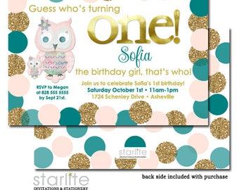 Owl 1st Birthday Invitation, 1st Birthday Invitation Owl, 1st Birthday Invite Girl, Pink and Gold Glitter Teal, First Birthday Invitation