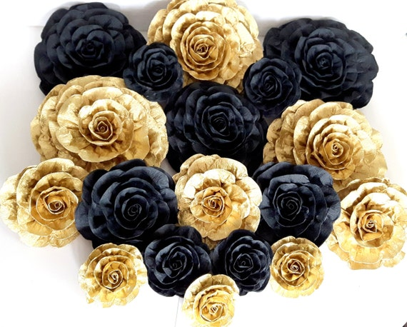 12 giant large crepe paper flowers wall decor glitter gold like this item mightylinksfo Gallery