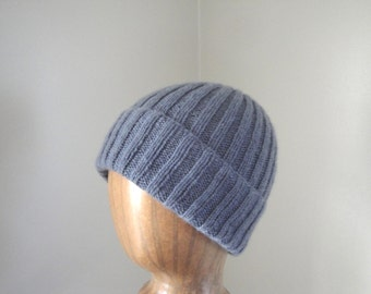 Knit Cashmere Hat, Luxury Beanie Hat, Steel Gray, Watch Cap, Gift for Him Her, Hand Knitted, Men or Women, Super Soft Cashmere