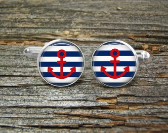 Nautical Anchor Red On Stripes cufflinks-Wedding-Jewelry Box-Silver-Keepsake-Man gift-Graduation-Men-Science-Nautical-Sailing-Ocean-Sailor
