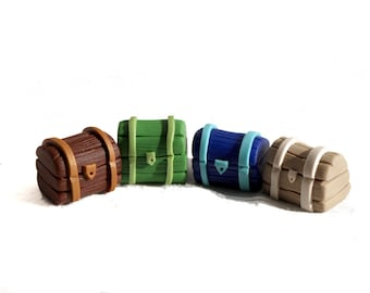 Treasure Chest Game Pieces for Treasure Quest, 24 Boardgame tokens, Board Game Bits, custom colors, Small Treasure chests, pirate game