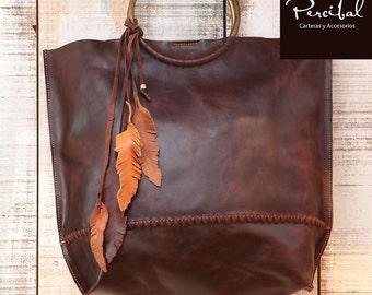 Brown Leather Bag, Handbag, Sac, Oversize Bag, Oversized leather purse