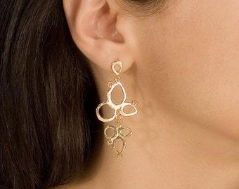 Gold Dangling Earring, Gold Delicate Earring, Dangle Earring, Drop Earring, Gold Bridal Earring, Bridal Earring, Gold Chandelier Earring