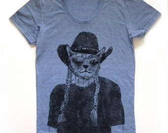 willie nelson shirt, cat tshirt, funny cat graphic t, willie nelson tee, woman fashion t, screen print, silkscreen, free shipping