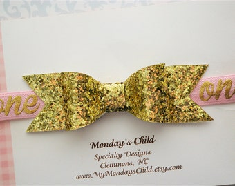 First Birthday Headband, 1st Birthday Headband, Pink and Gold First Birthday Headband, Birthday Headband, Birthday Hair Bow, Baby Headband