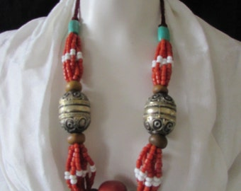1970's Boho Chunky Necklace Turquoise /Coral Silver Beads