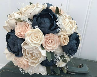 Sola flower bouquet, blush sola wooden flower wedding bouquet, blush pink and navy, peony wedding bouquet, keepsake, blush pink ecoflowers