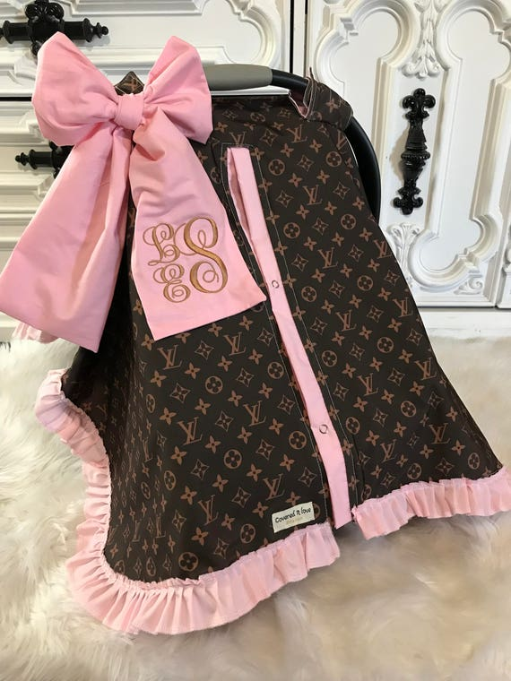 Completely new car seat canopy LV car seat cover comes with BOW and OY02
