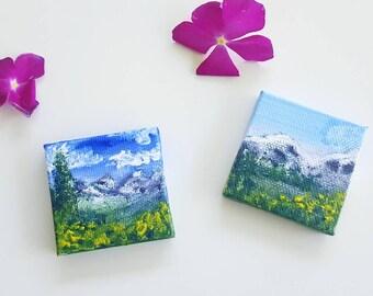 "Mountain Scene N.1 & N.2 -  2x2"" Minaiture Acrylic Painting - mountainscape acrylic art - ooak"