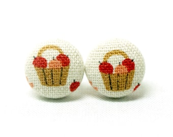Basket of Apples Earrings (Set of 2) ~ Button Earrings ~ Fabric Button ~ Covered Button - 15mm (0.59 inch)