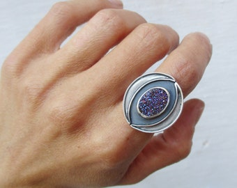 Titanium druzy sterling silver ring, moon phase ring, half moon ring, double band rainbow gemstone ring, wide band crescent ring, US 5.5-6