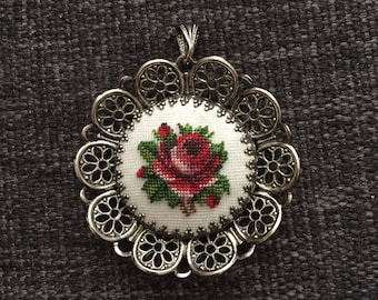 Big sale Vintage needlepoint embroidered rose pendant