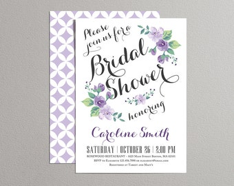 Printable Bridal Shower Invitation (lavender) - Vintage Floral Invitation - Spring/Summer Bridal Shower